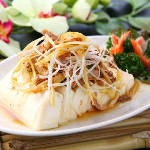 チャーシューと豆腐の和えもの
